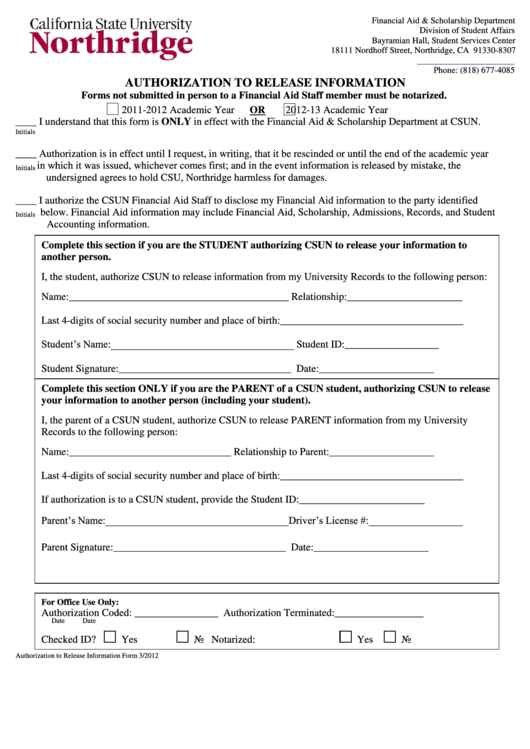 Fillable Form 3/2012 - Authorization To Release Information Form Printable pdf
