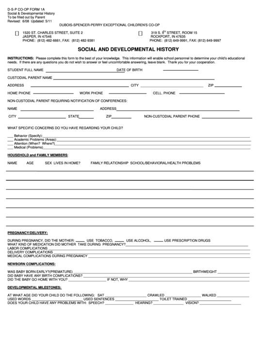 Form 1a - Social And Developmental History