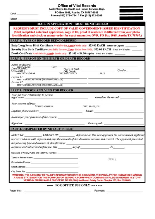 fillable death certificate request form  travis co