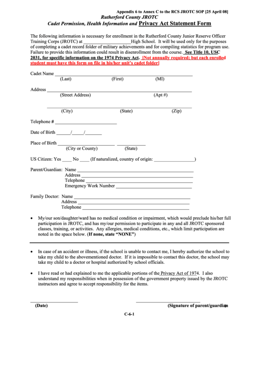 Cadet Permission, Health Information And Privacy Act Statement Form