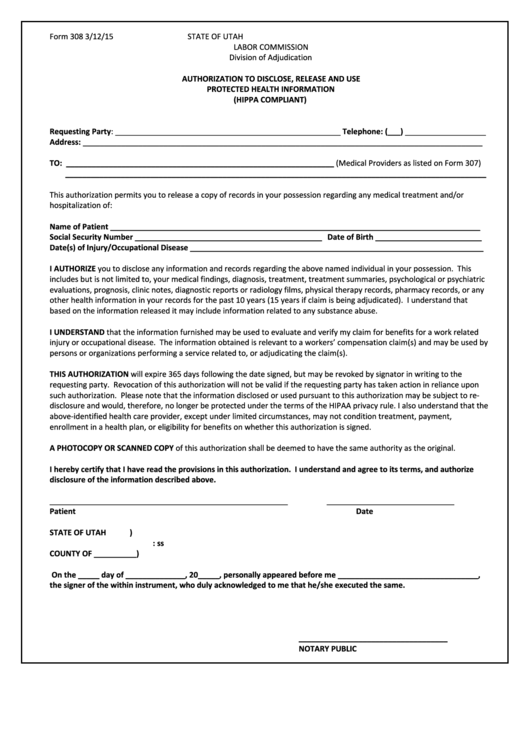 Form 308-authorization To Release Medical Records