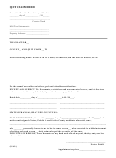 Quit Claim Deed Template - State Of Kansas