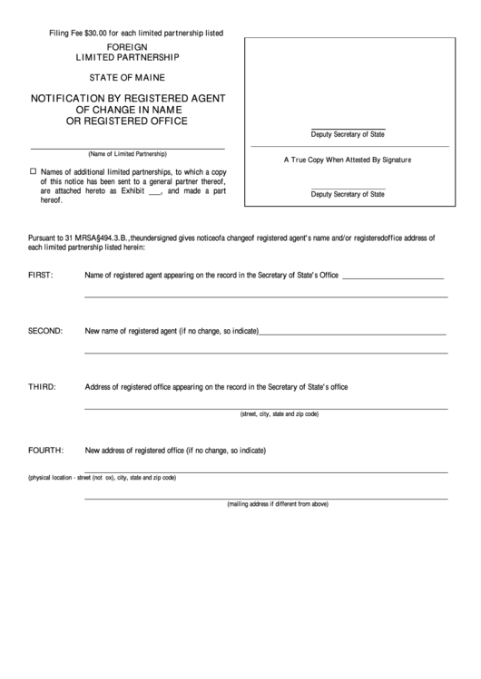 Form No. Mlpa-12d-Notification By Registered Agent Of Change In Name Or Registered Office Printable pdf