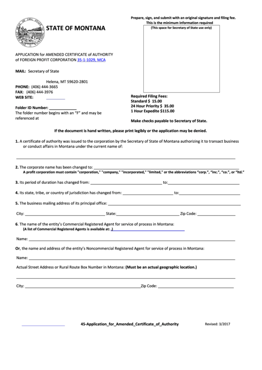 Form 45 - Application For Amended Certificate Of Authority Of Foreign Profit Corporation 35-1-1029, Mca - State Of Montana