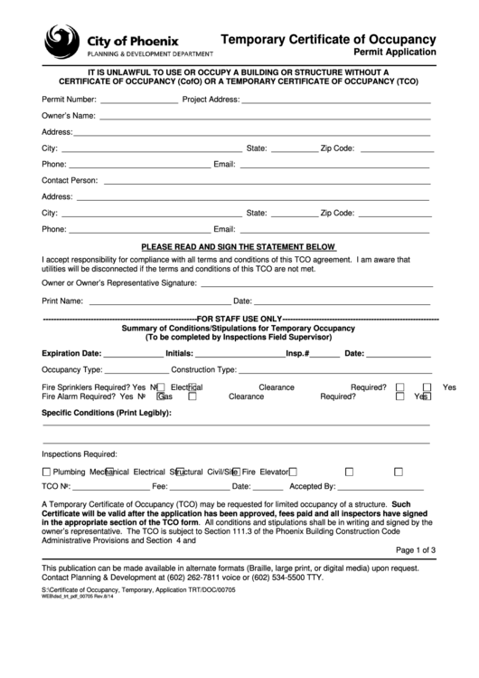 Fillable Form 00705-temporary Certificate Of Occupancy Form ...