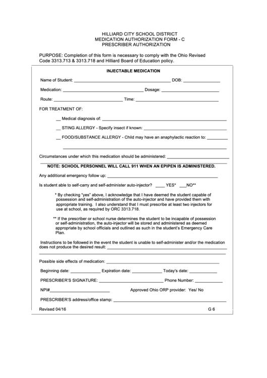 Medication Authorization Form - C Prescriber Authorization Form Printable pdf