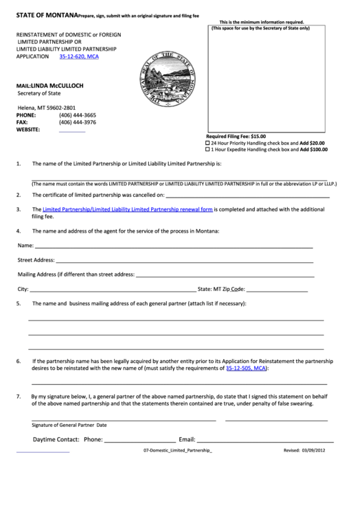 Reinstatement Of Domestic Or Foreign Limited Partnership Or Limited Liability Limited Partnership Application Form 35-12-620, Mca - State Of Montana 2012 Printable pdf