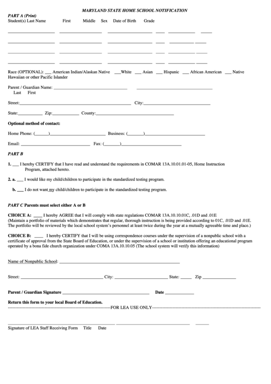Maryland State Home School Notification Form printable pdf