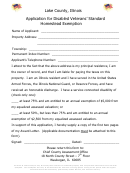Application For Disabled Veterans' Standard Homestead Exemption Form - Lake County, Illinois