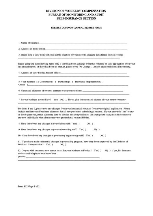 Form Si-23 - Service Company Annual Report Form Printable pdf