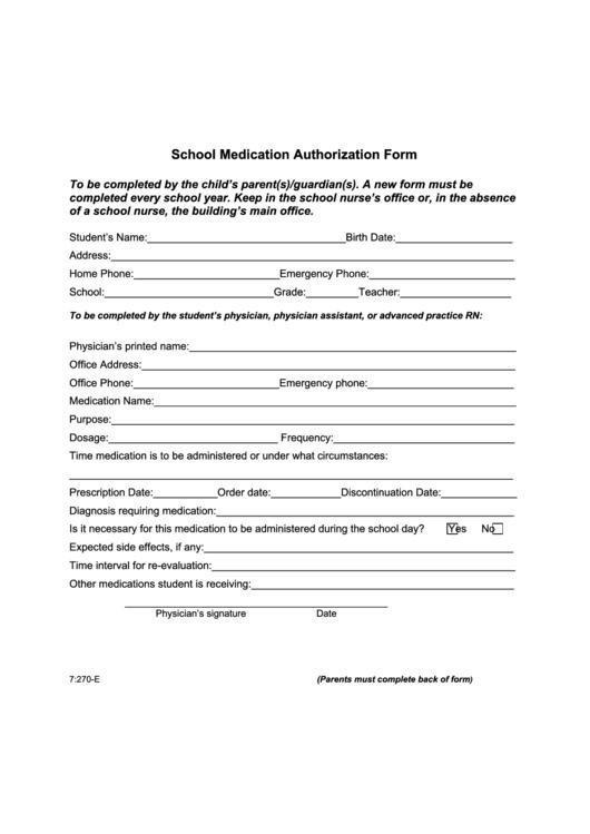 School Medication Authorization Form Printable pdf