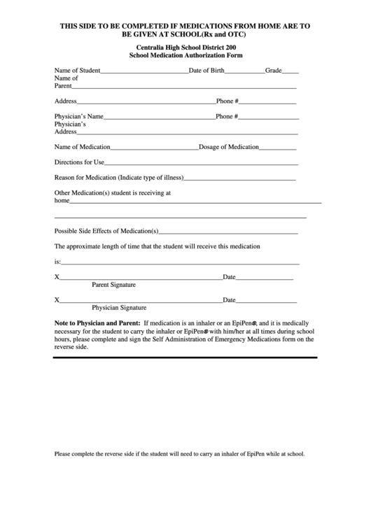 School Medication Authorization Form; Self-Administration Of Emergency Medications Template Printable pdf