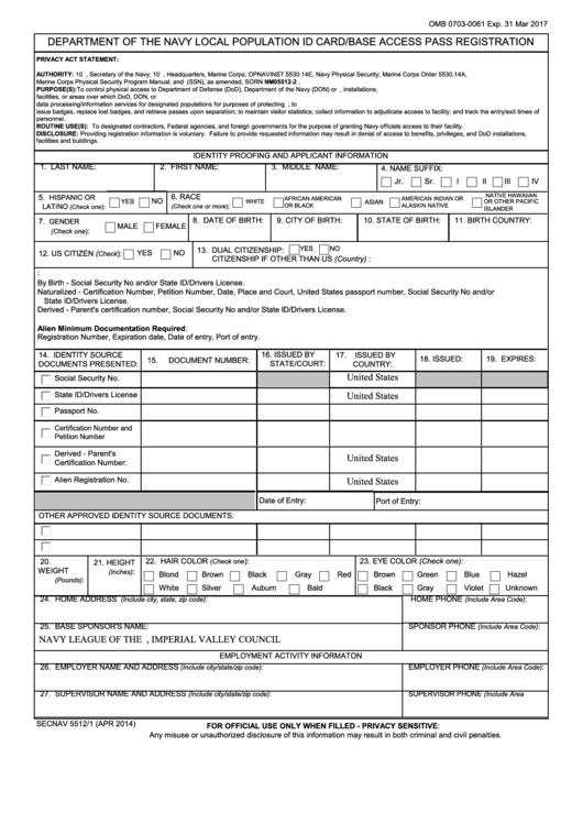 Form Secnav 5512/1 - Department Of The Navy Local Population Id Card/base Access Pass Registration