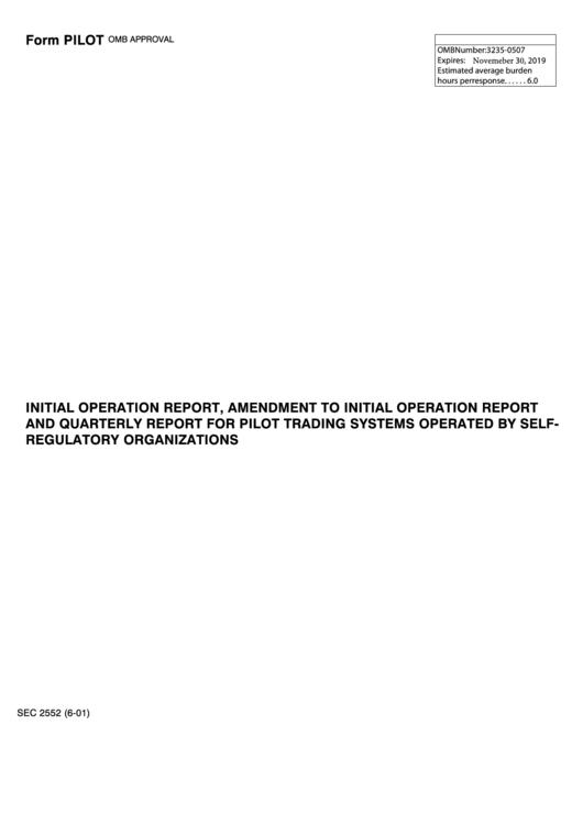 Form Pilot - Initial Operation Report