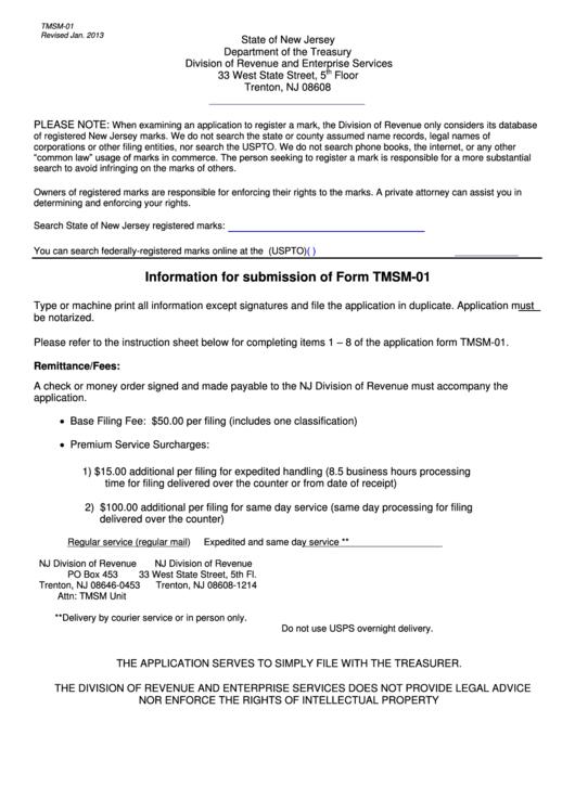 Form Tmsm-01 - Original Application Form To Register A Trade Or Service Mark