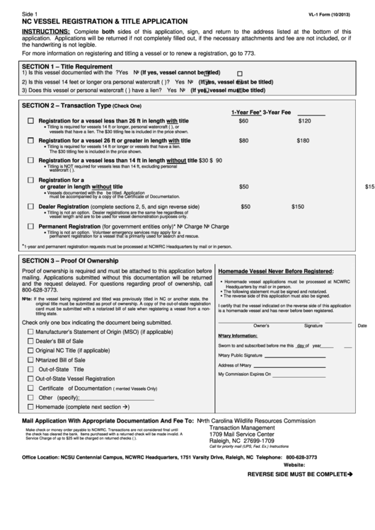 Form Vl-1 - Nc Vessel Registration & Title Application Printable pdf