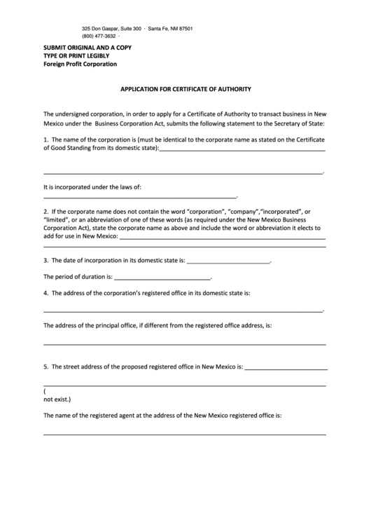 Fillable Form Fpr - Application For Certificate Of Authority, Form F-Stmnt - Statement Of Acceptance Of Appointment - Nm Secretary Of State - 2013 Printable pdf