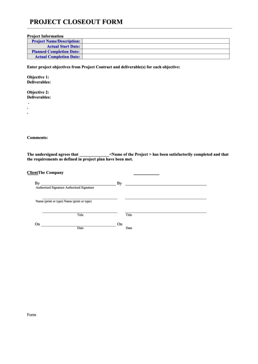 Project Closeout Form