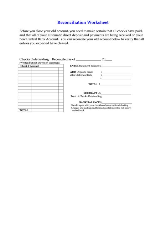 Reconciliation Worksheet Form-central Bank