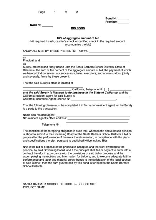 Bid Bond Form-santa Barbara Unified School District