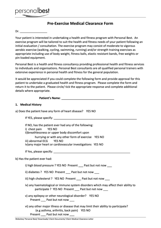 Client Medical Clearance Form