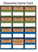 Geocache Game Card Template