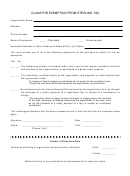 Claim For Exemption From Sterling Tax Form
