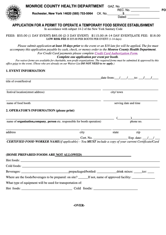 application form for a permit to operate a temporary food