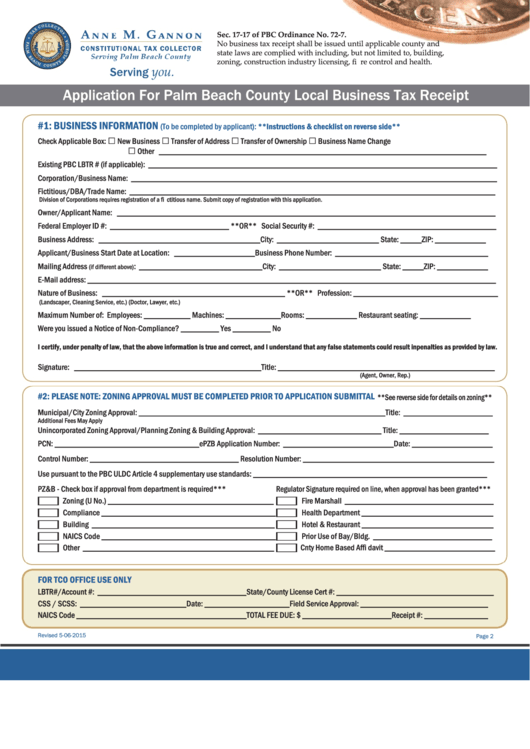 Application For Palm Beach County Local Business Tax Receipt Form - Palm Beach County Tax Collector