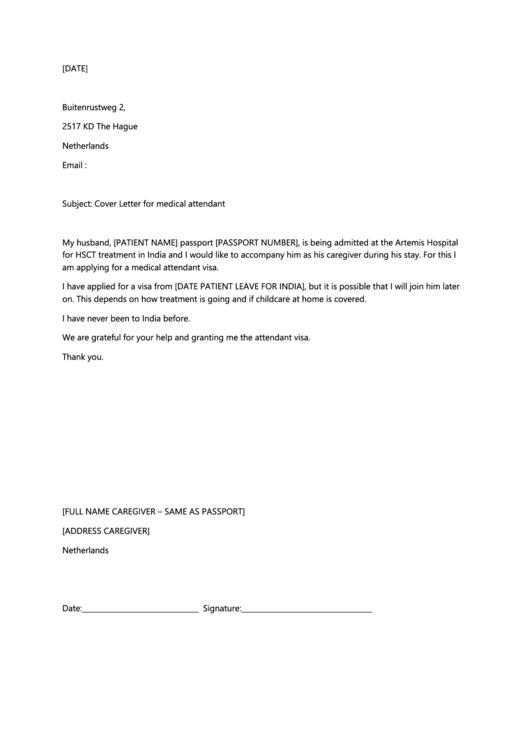 Cover Letter For Medical Attendant Letter Form Printable pdf