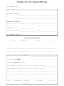 Application For Special Master Form
