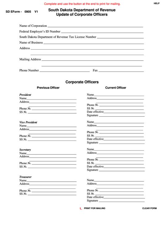 Fillable Sd Eform-0905 V1 - Update Of Corporate Officers Printable pdf
