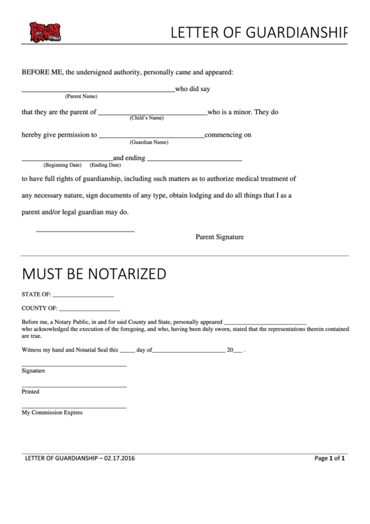 Letter Of Guardianship Form Printable pdf