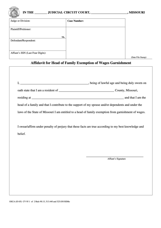 Form Osca 03 05 Cv 95 Affidavit For Head Of Family