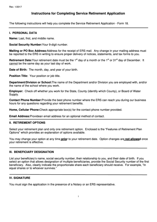 Fillable Form 18 Service Retirement Application Form Hawaii