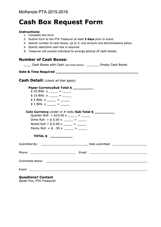 Cash Box Request Form