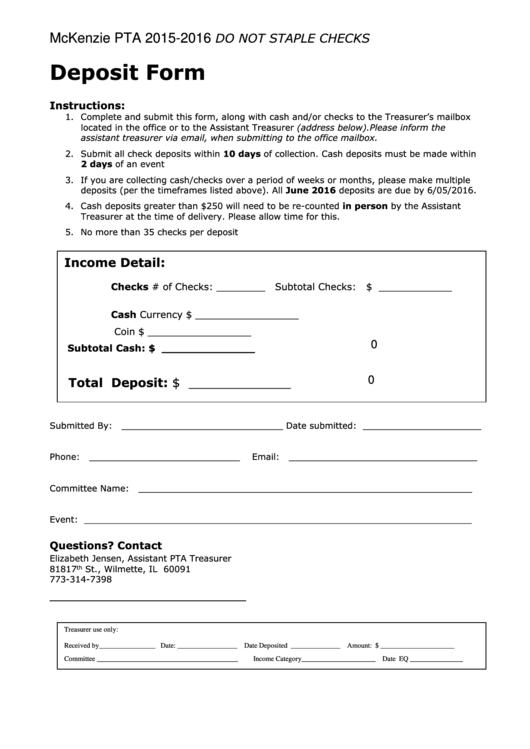 Deposit Form (mckenzie Pta)
