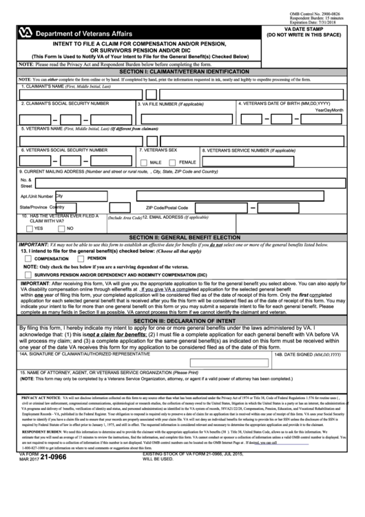 Va Form 21-0966 - Intent To File A Claim For Compensation And/or Pension, Or Survivors Pension And/or Dic
