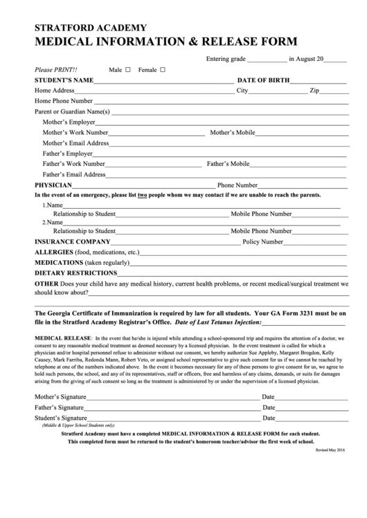 Medical Information & Release Form Printable pdf