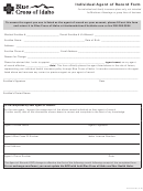 Form 3-037 - Individual Agent Of Record Form - Blue Cross Of Idaho
