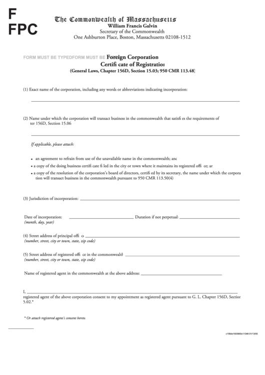 foreign certificate fpc registration corporation form pdf