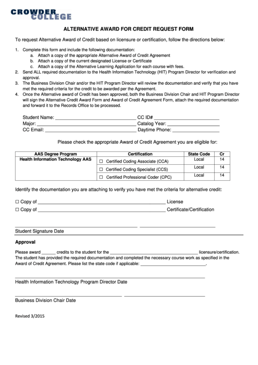 Alternative Award For Credit Request Form