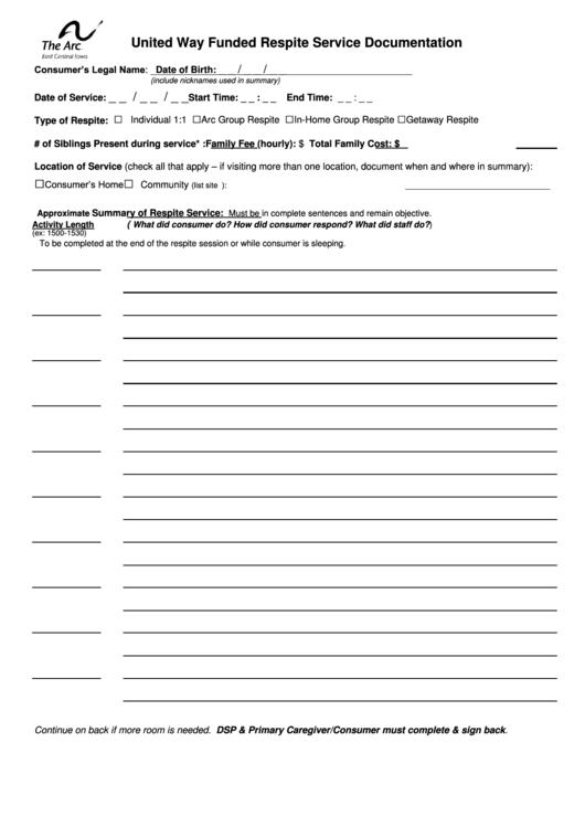 United Way Respite Service Documentation Form