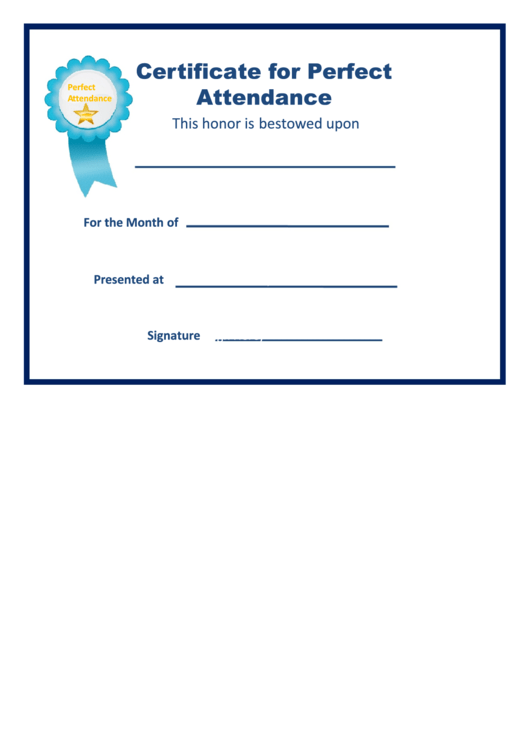 top 22 perfect attendance certificate templates free to download in