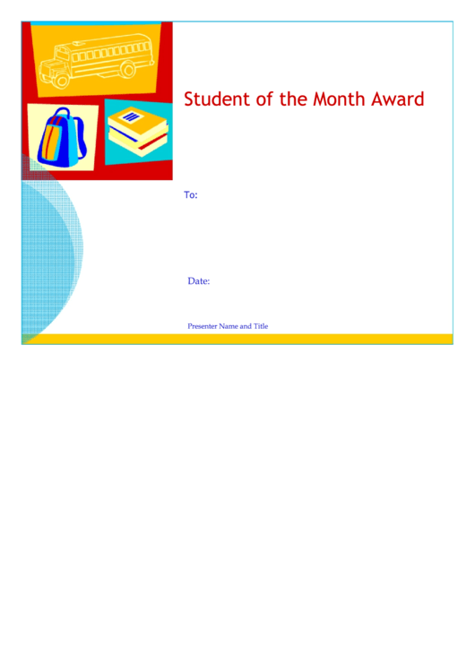 fillable student of the month award template printable pdf download