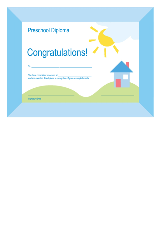 Preschool Diploma Template Printable pdf
