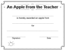 An Apple From The Teacher Certificate Template