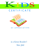 Reading Certificate 2 Fillable Template