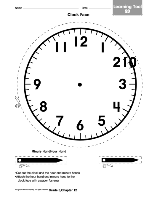 Clock Face Worksheet Template printable pdf download