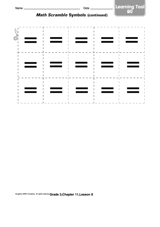 Math Scramble Symbols (Continued) Worksheet Printable pdf